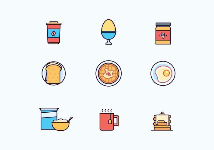 Icônes de petit-déjeuner vecteur