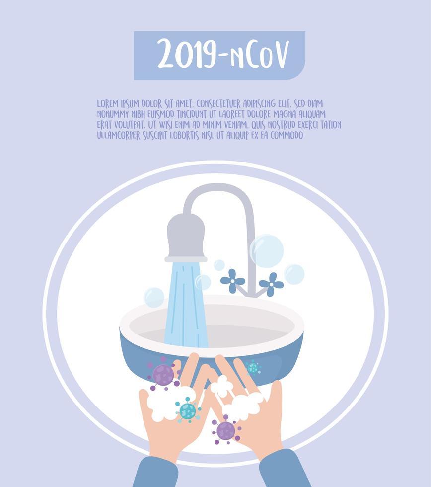 bannière de modèle de prévention et de désinfection virale covid-19 vecteur