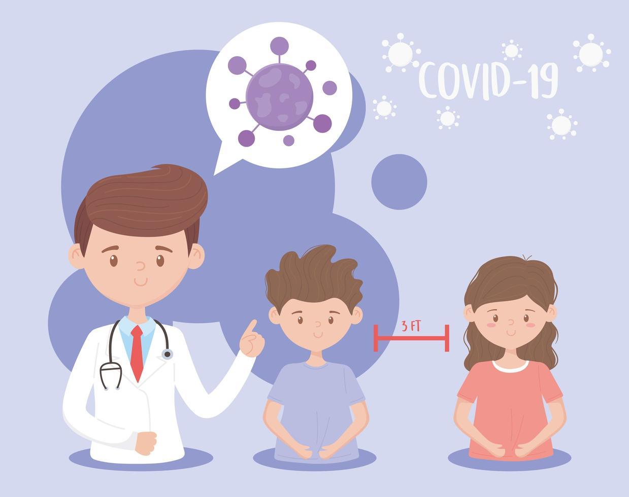 covid-19 et distanciation sociale vecteur