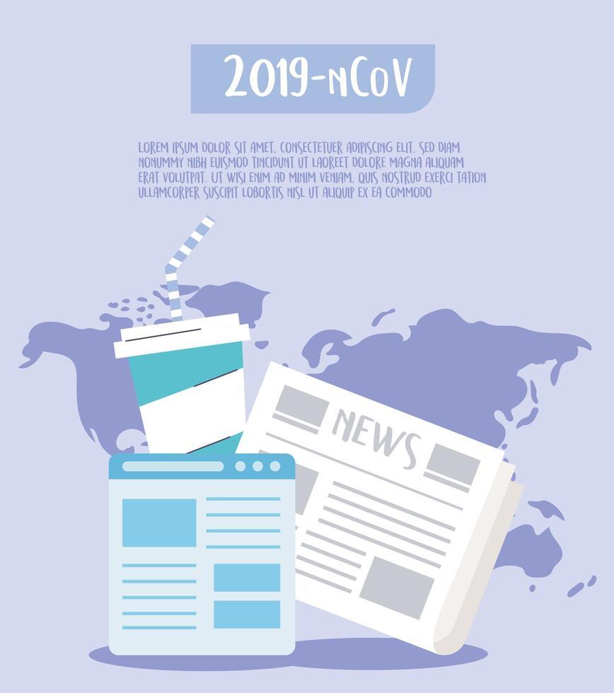 suivez l'actualité de la bannière de modèle de coronavirus vecteur