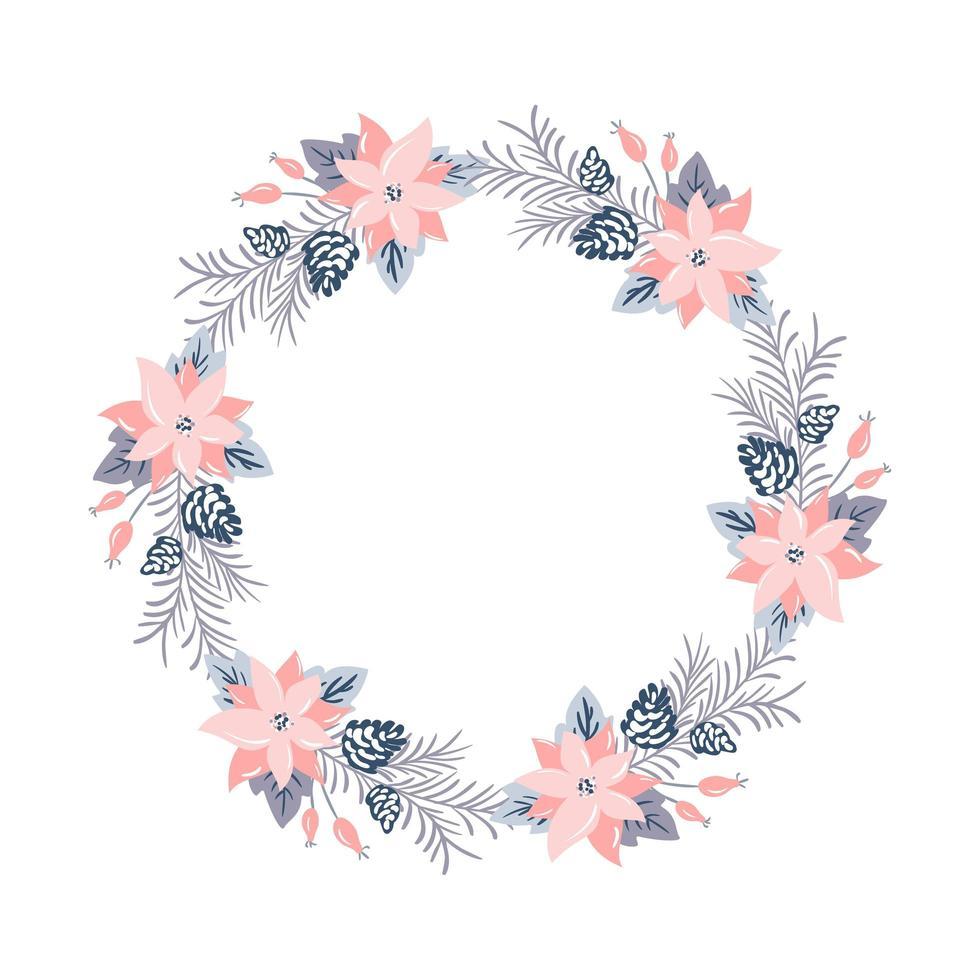 couronne de vecteur de Noël avec des fleurs roses