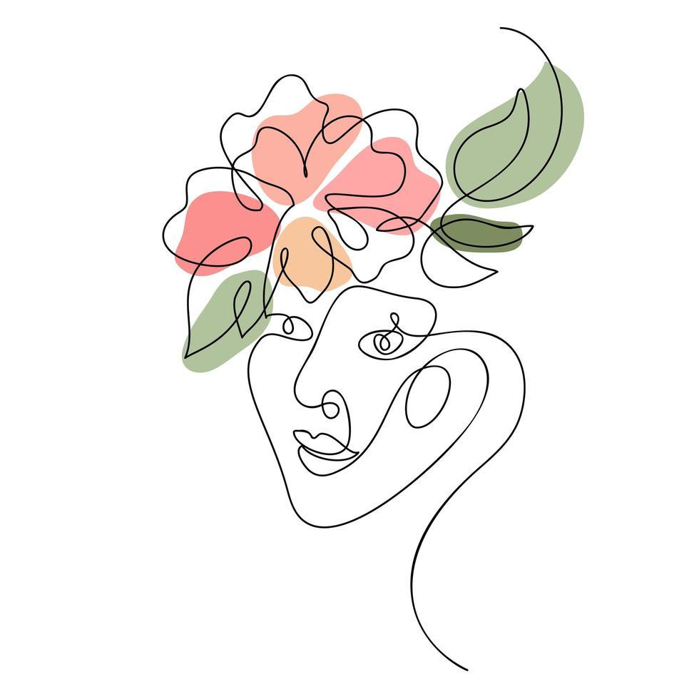 visage de femme avec un dessin de ligne de fleur vecteur
