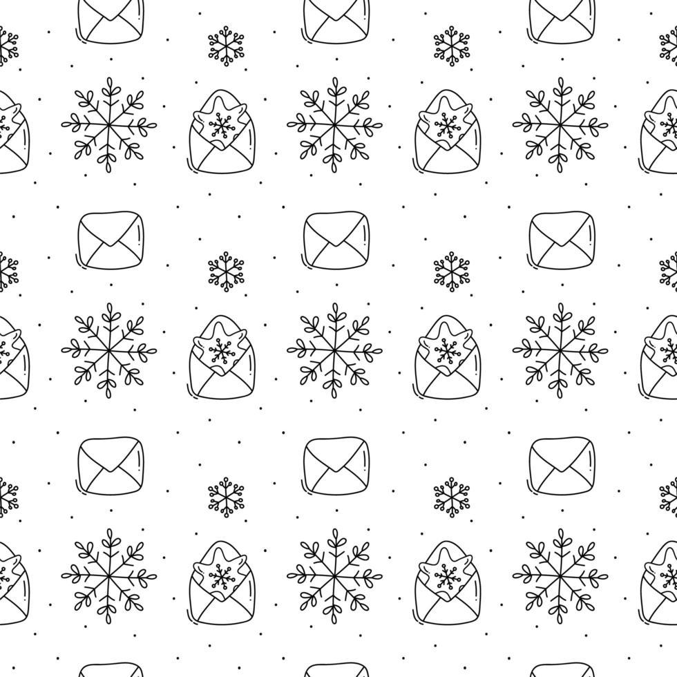 motif de noël monoline flocon de neige et enveloppe vecteur