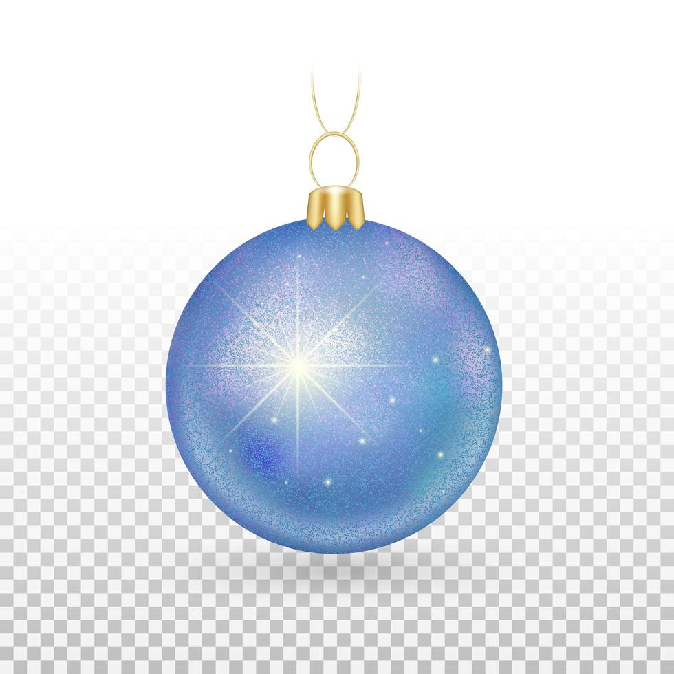 ornement de boule de noël bleu brillant vecteur