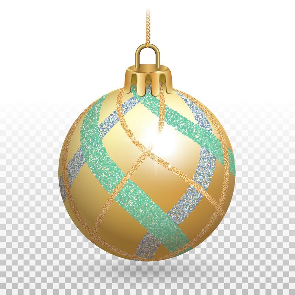 ornement de boule de noël doré brillant avec des rayures scintillantes vecteur