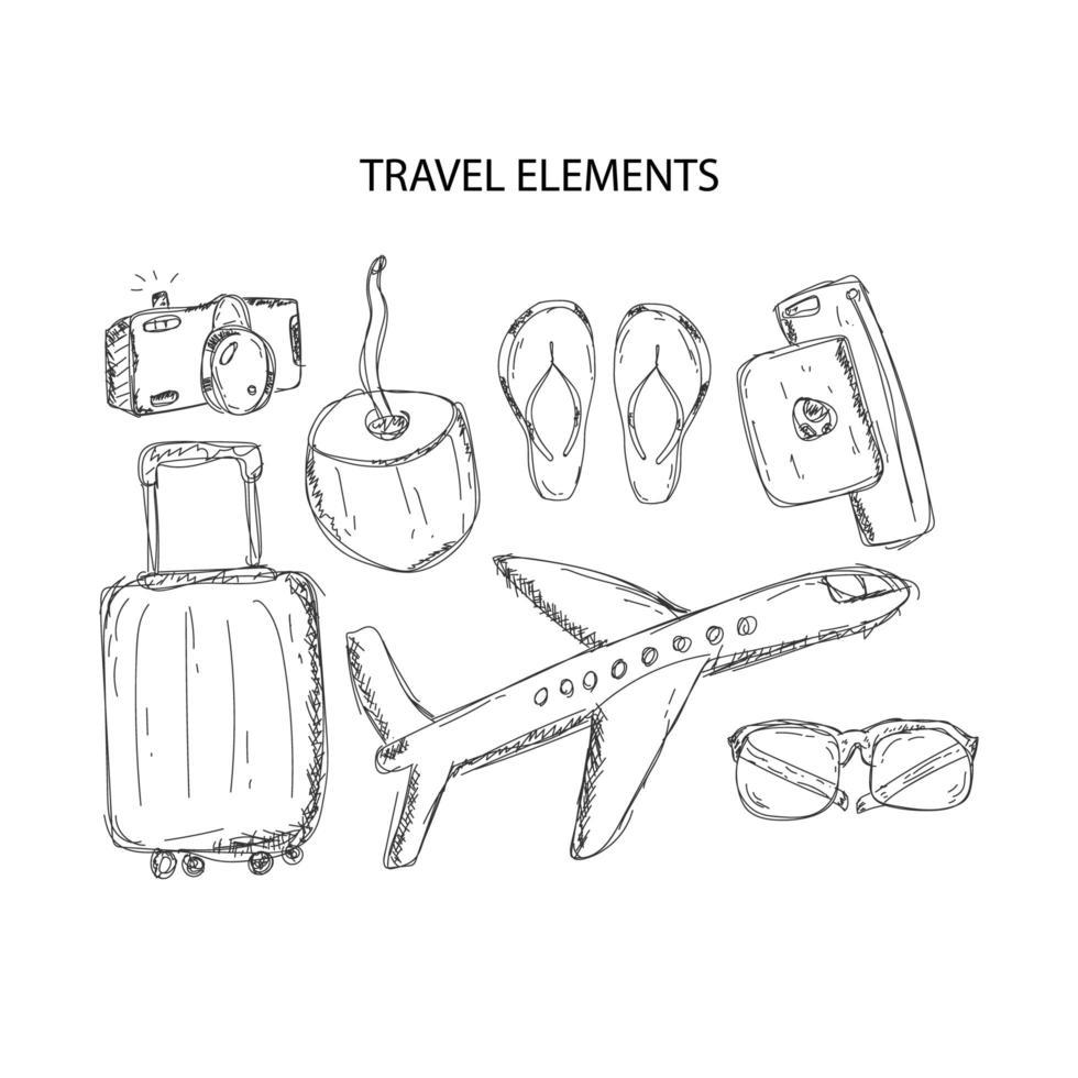 éléments de voyage dessinés à la main vecteur
