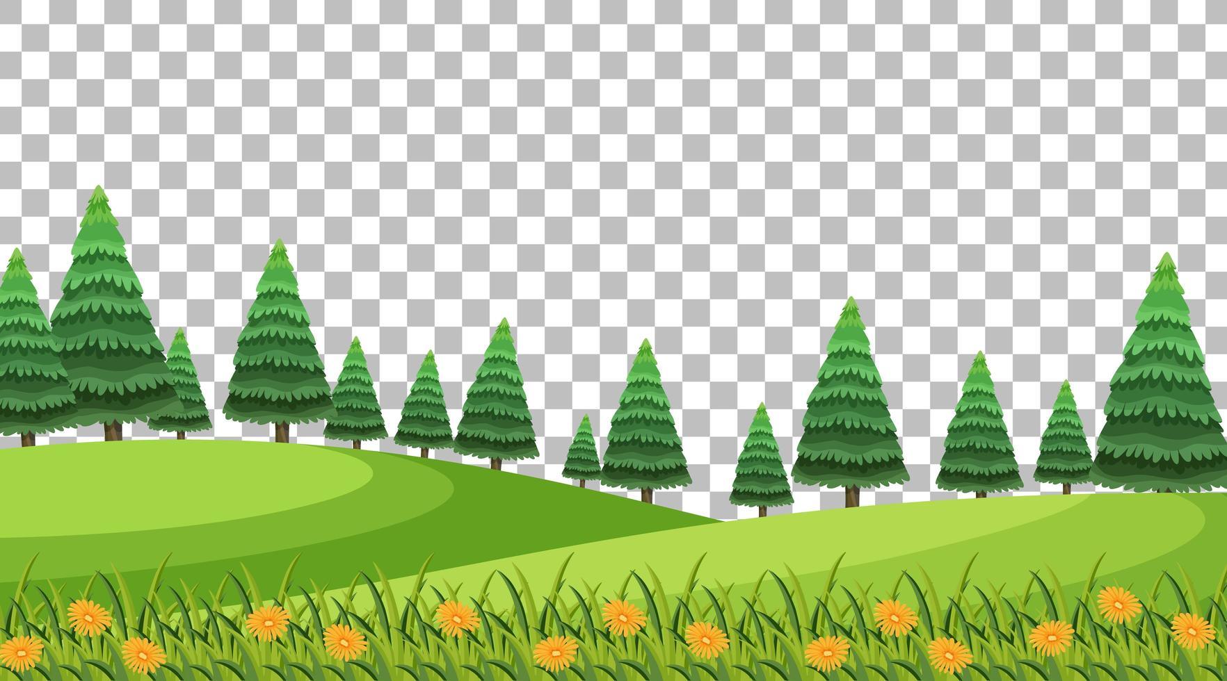 scène de parc naturel avec fleurs et paysage de champ vecteur