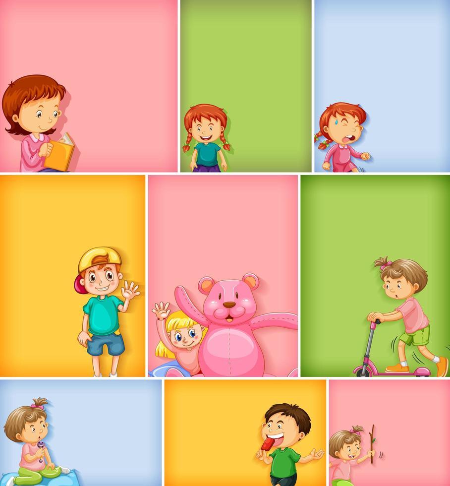 ensemble de personnages enfants sur fond de couleur différente vecteur