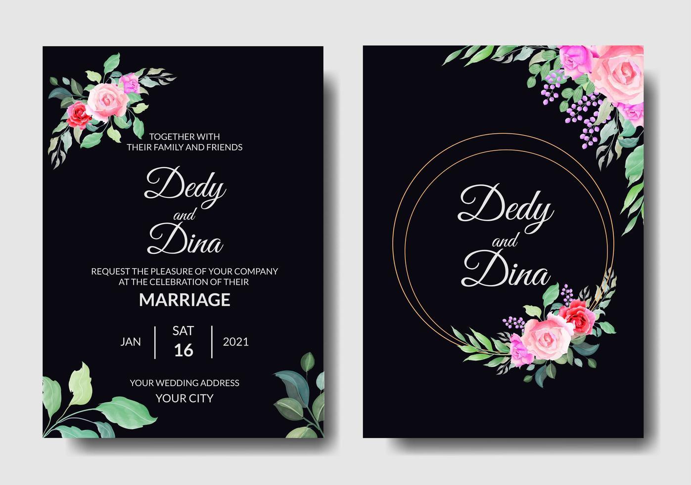 invitation de mariage aquarelle vecteur
