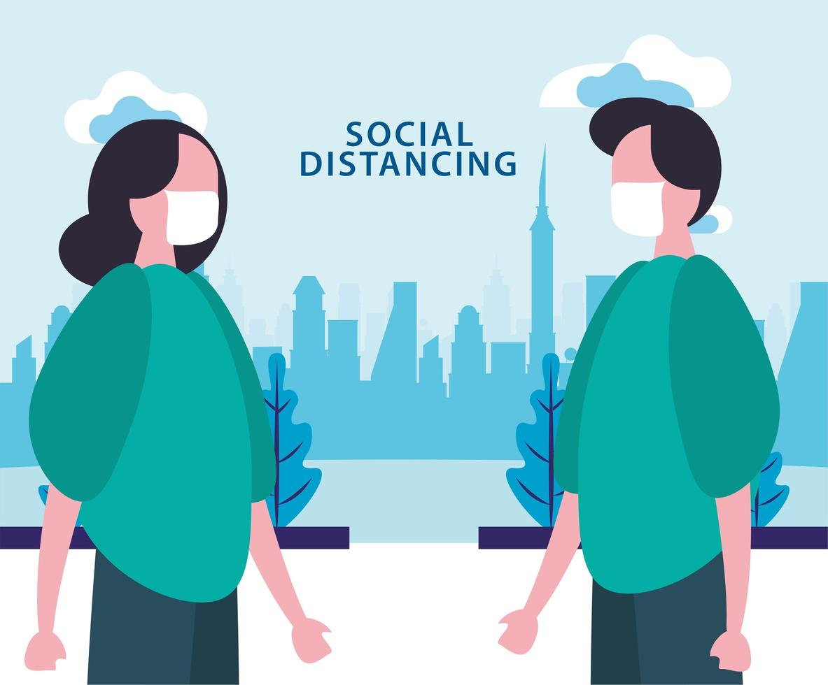 affiche de distanciation sociale avec des personnes masquées à l'extérieur vecteur