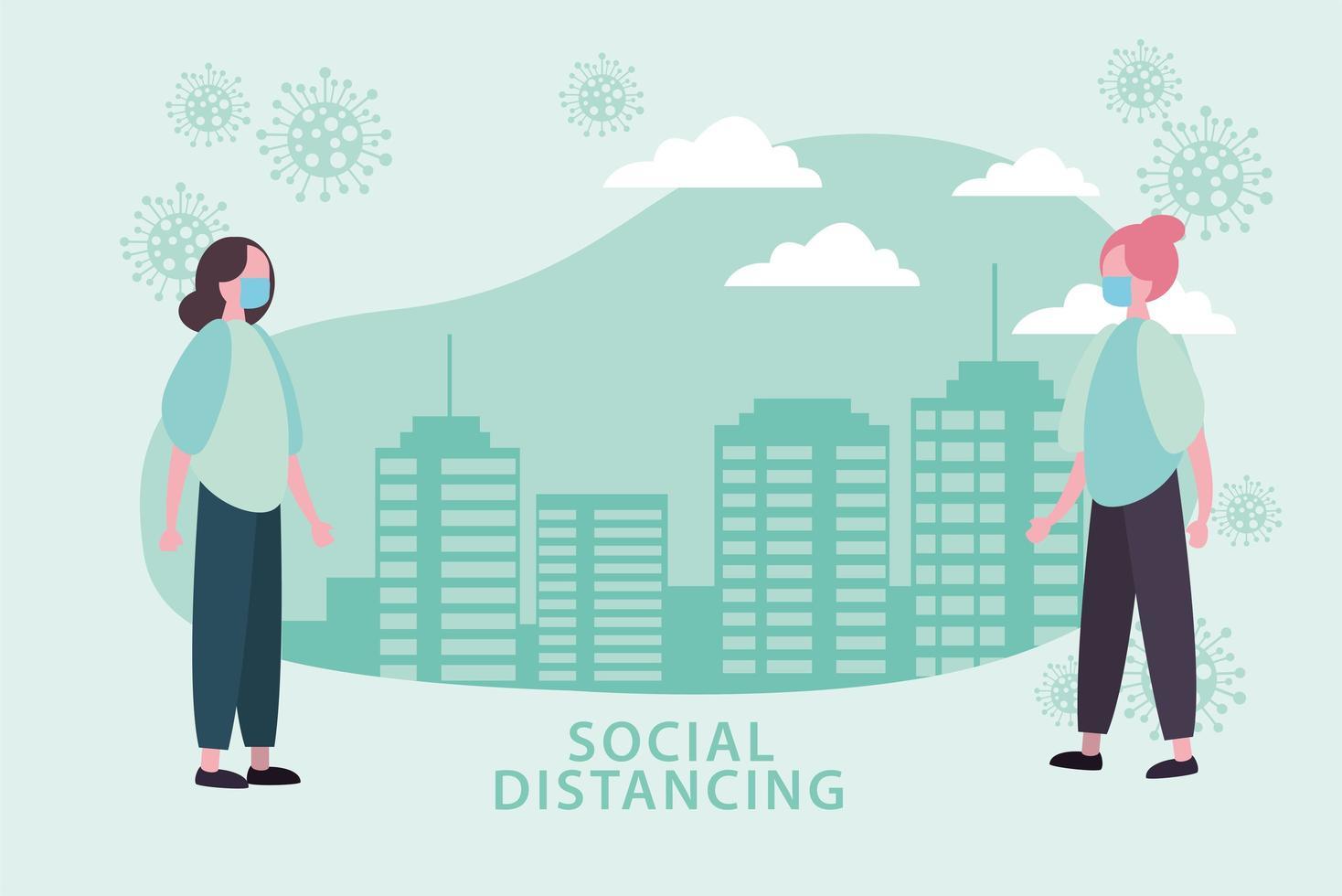 affiche de distanciation sociale avec des femmes masquées et des cellules à l'extérieur vecteur