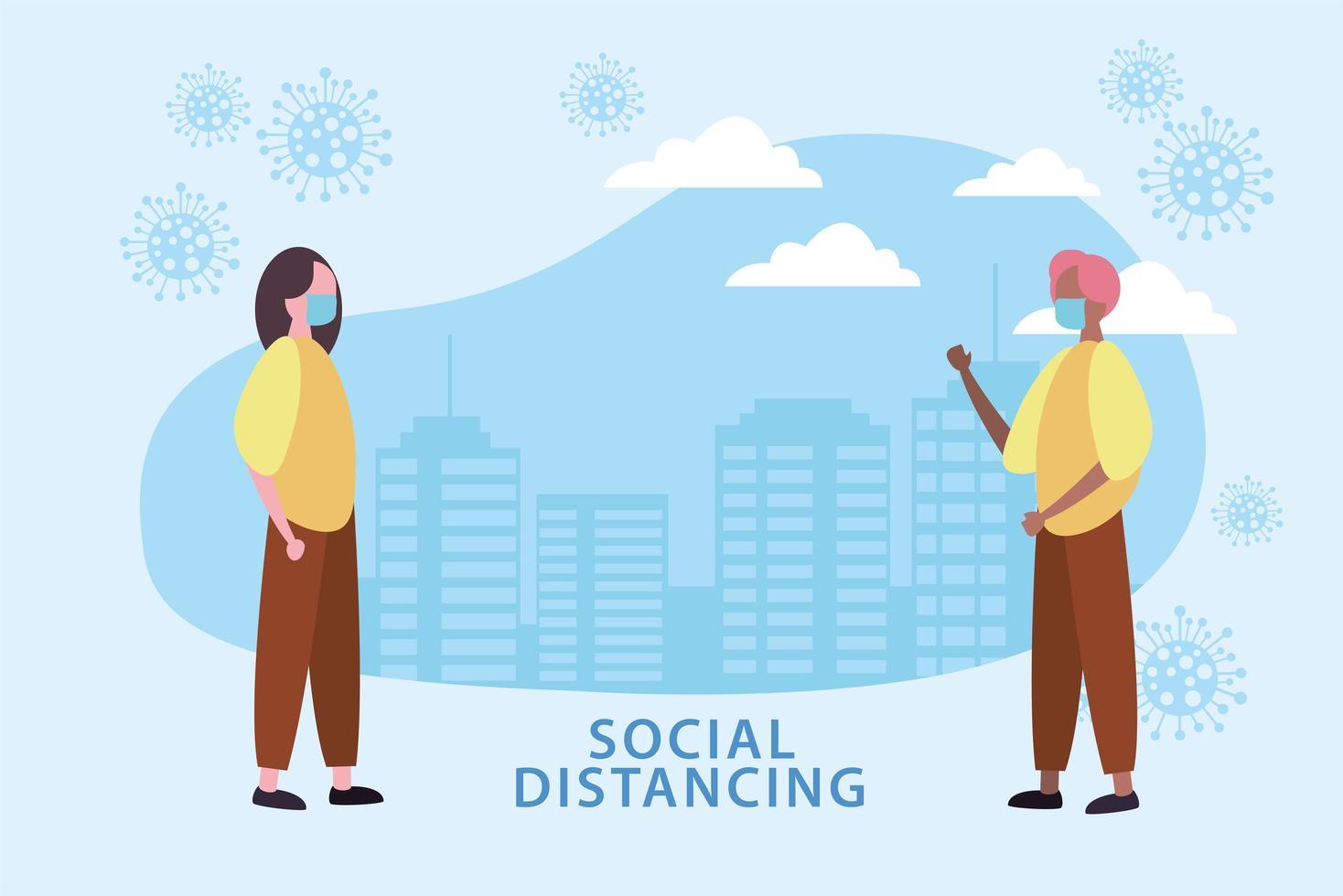 affiche de distanciation sociale avec des personnes masquées et des cellules à l'extérieur vecteur