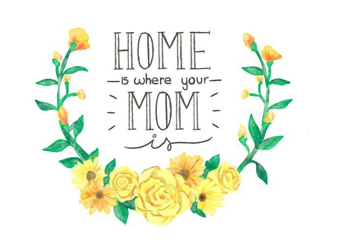 Belles fleurs et Lettrage Pour la fête des mères Couronne jaune vecteur