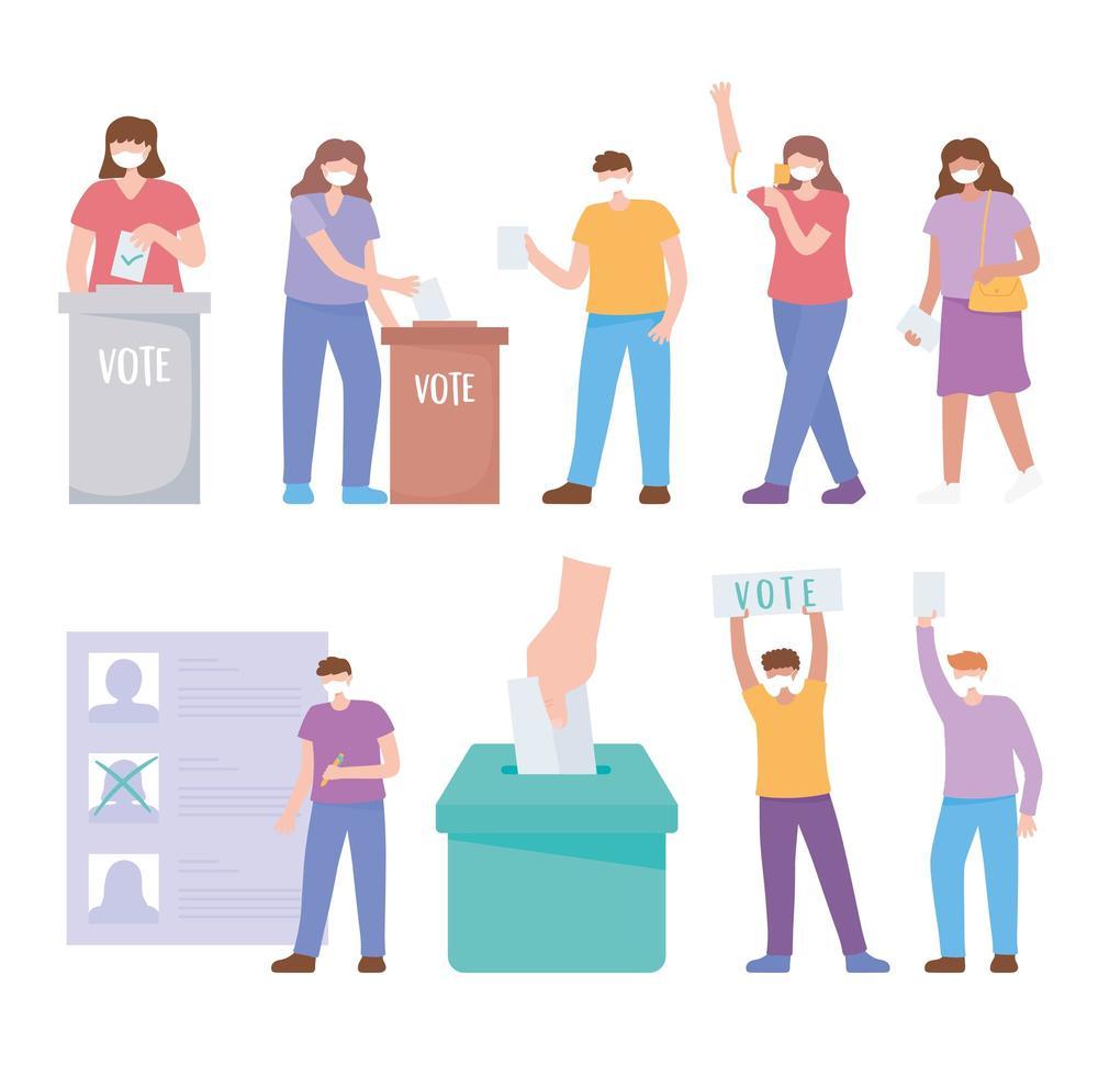 personnes masquées votant et ensemble d'éléments électoraux vecteur