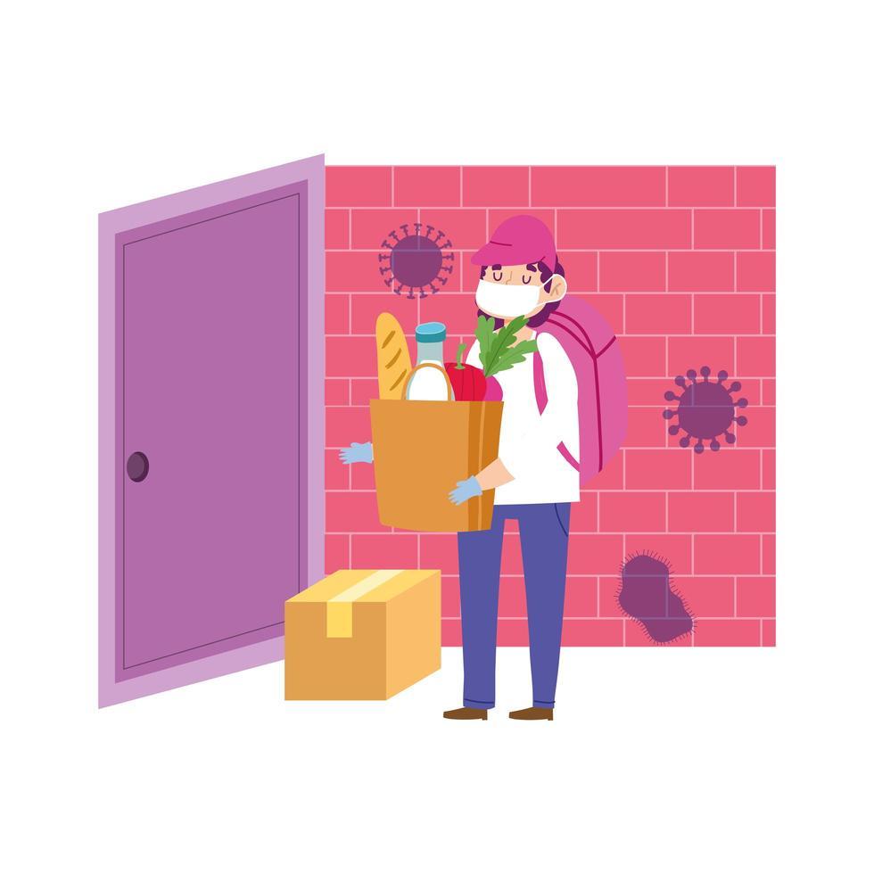 Homme de messagerie transportant une boîte en carton à la porte vecteur