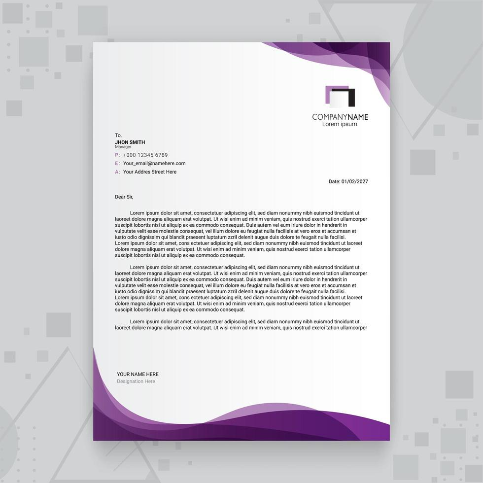 modèle de papier à en-tête de business créatif violet vecteur