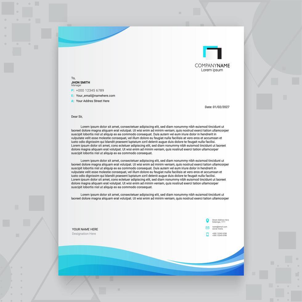 modèle de papier à en-tête bleu entreprise créative vecteur