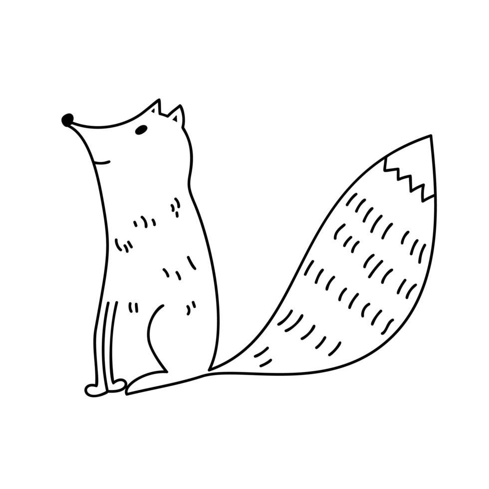 renard de doodle de dessin animé mignon vecteur