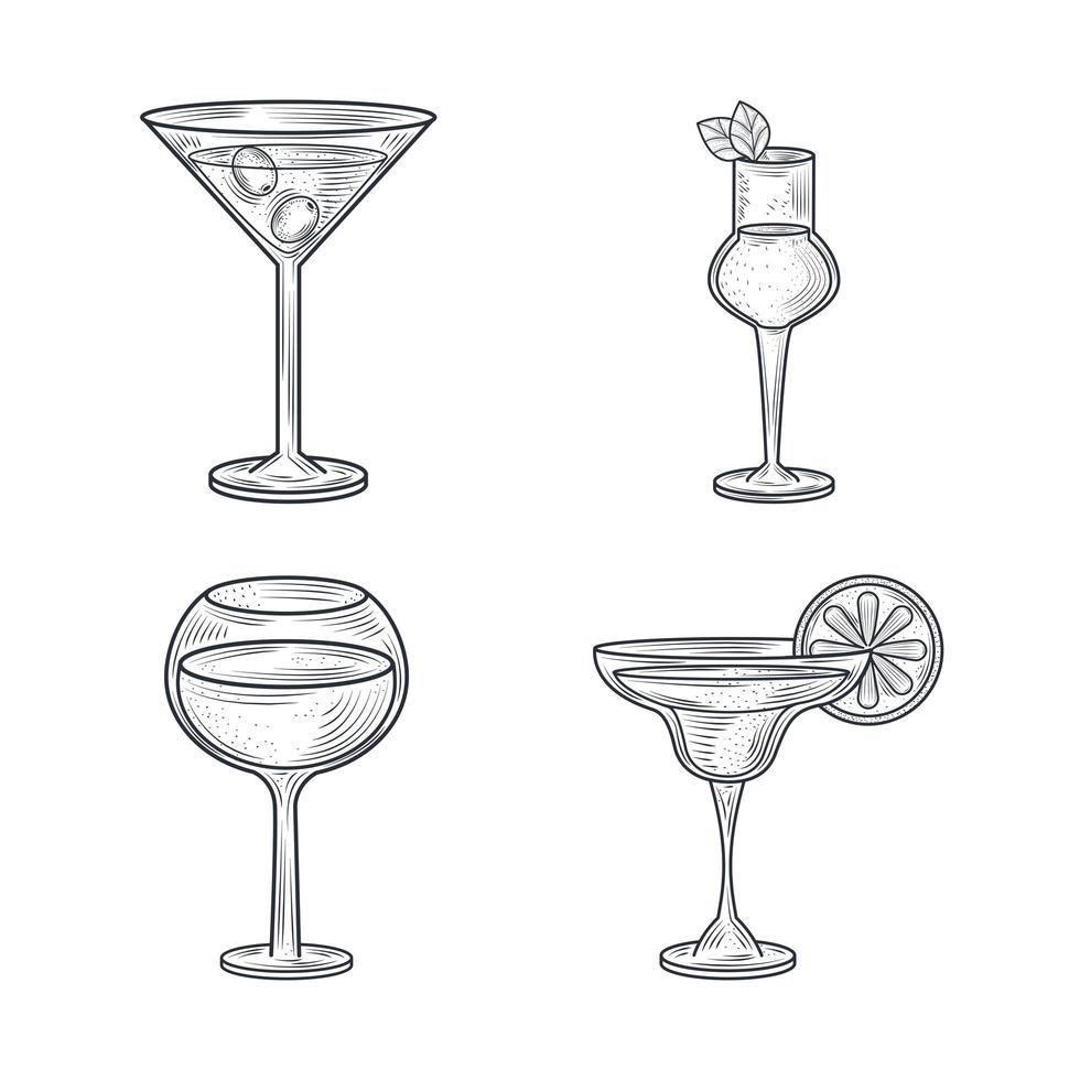 composition d'art en ligne de cocktails vecteur