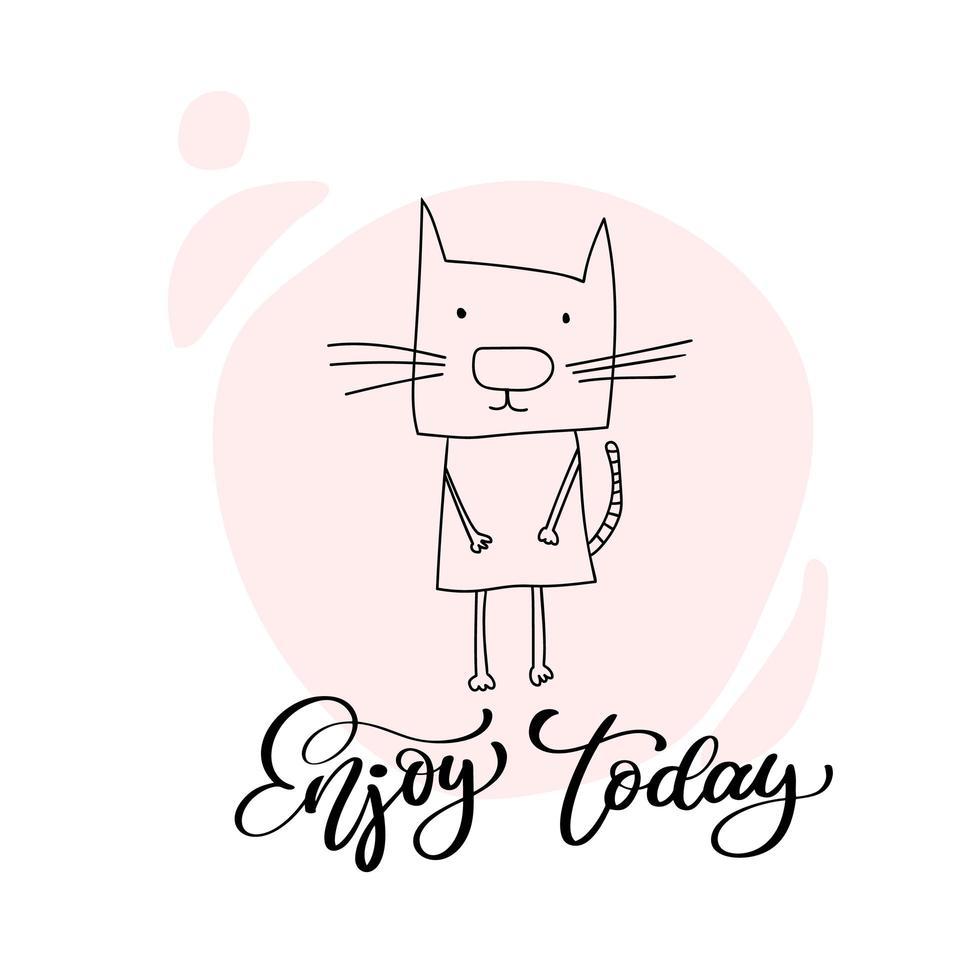 chat mignon sur fond rose avec message Enjoy Today vecteur