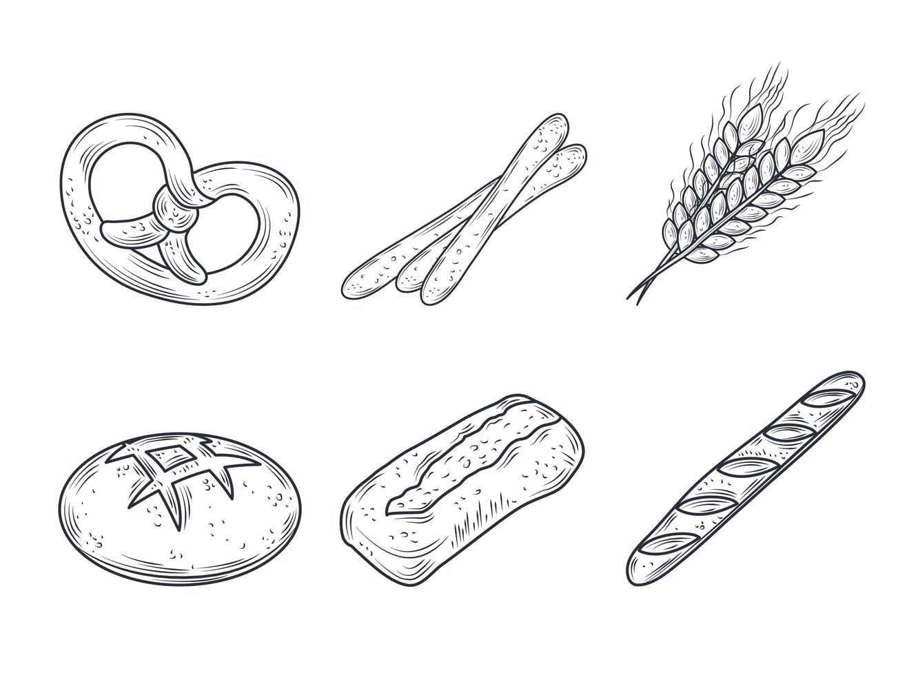 jeu d'icônes de produits de boulangerie vecteur