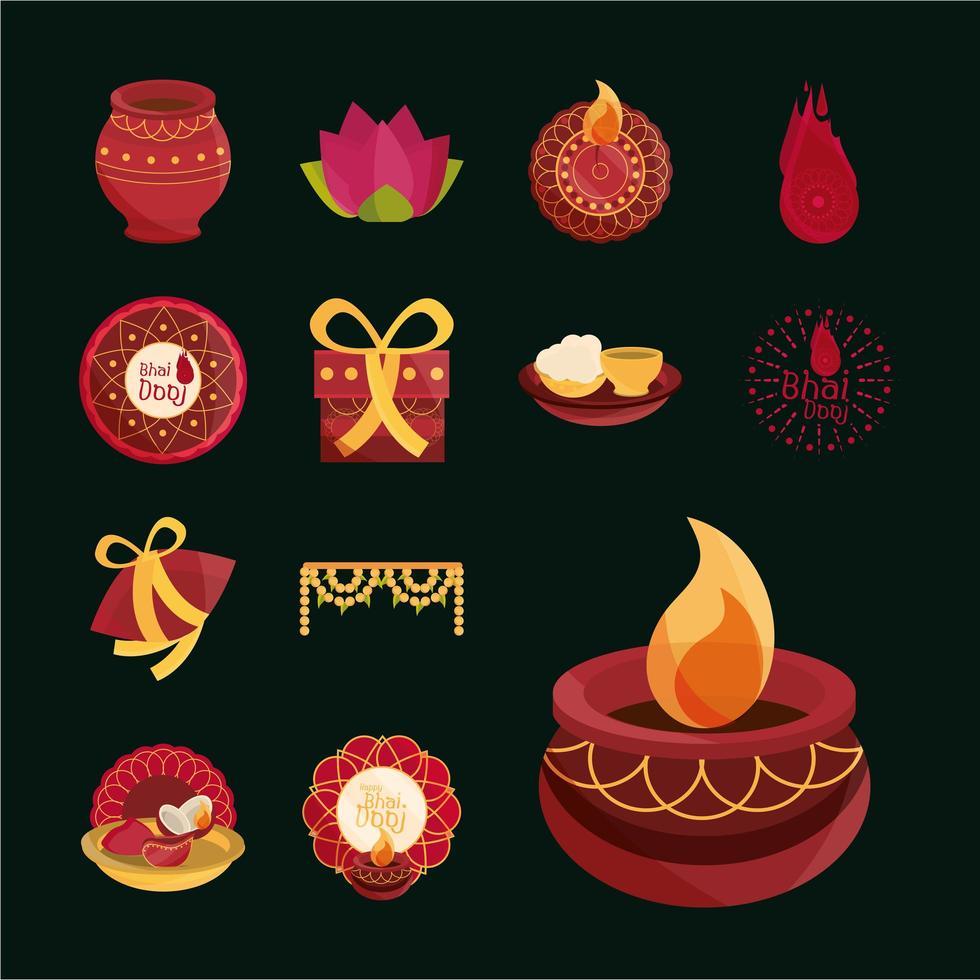 jeu d'icônes de célébration bhai dooj vecteur