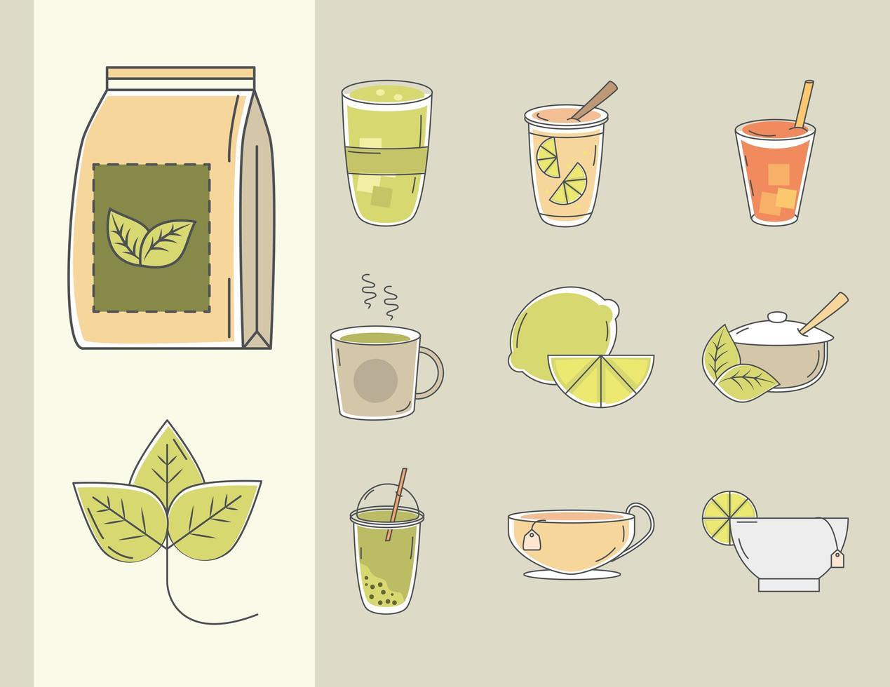 ensemble de différentes sortes de thé vecteur