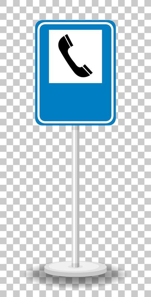 panneau de signalisation téléphonique avec support isolé vecteur