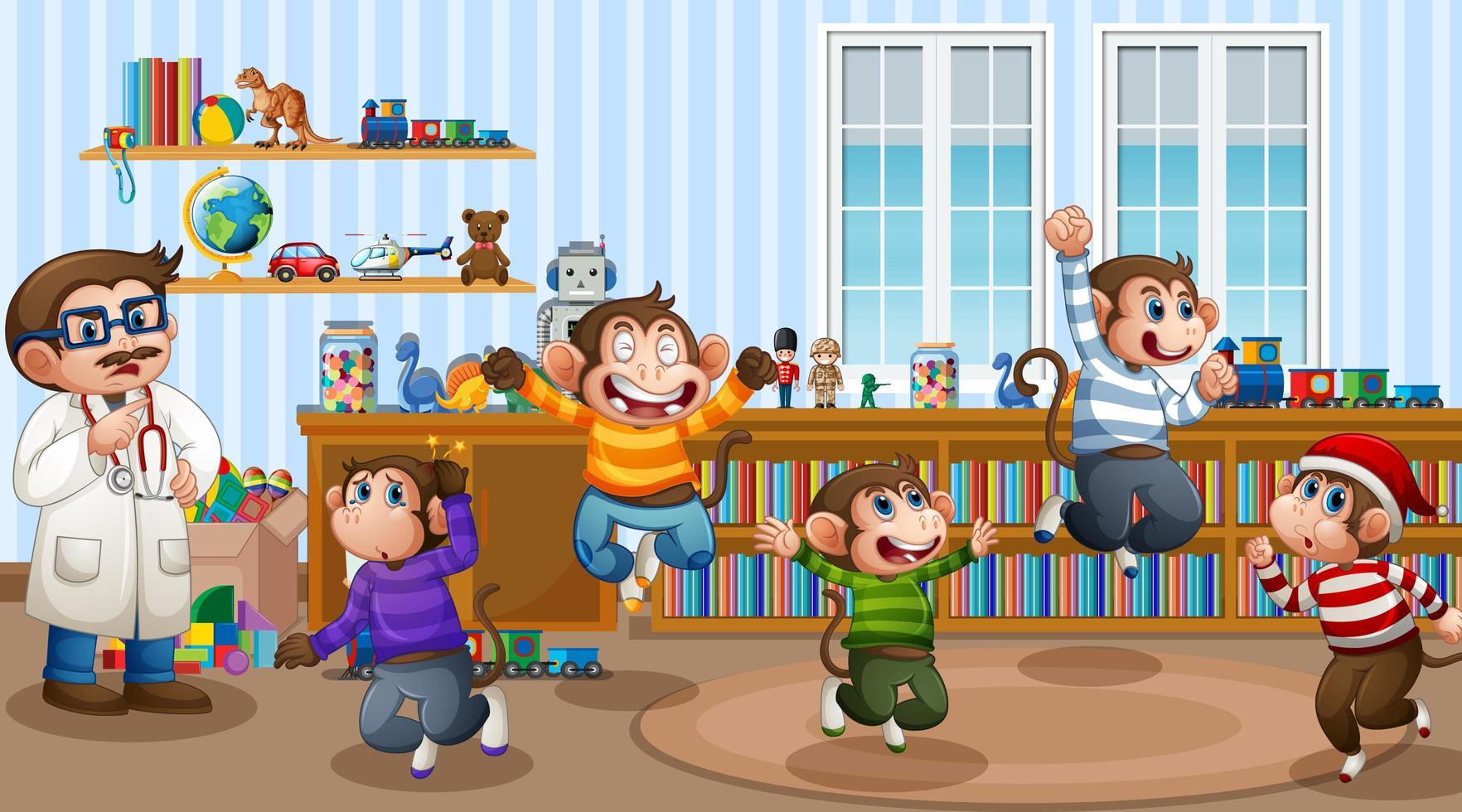 cinq petits singes sautant dans la scène de la pièce vecteur
