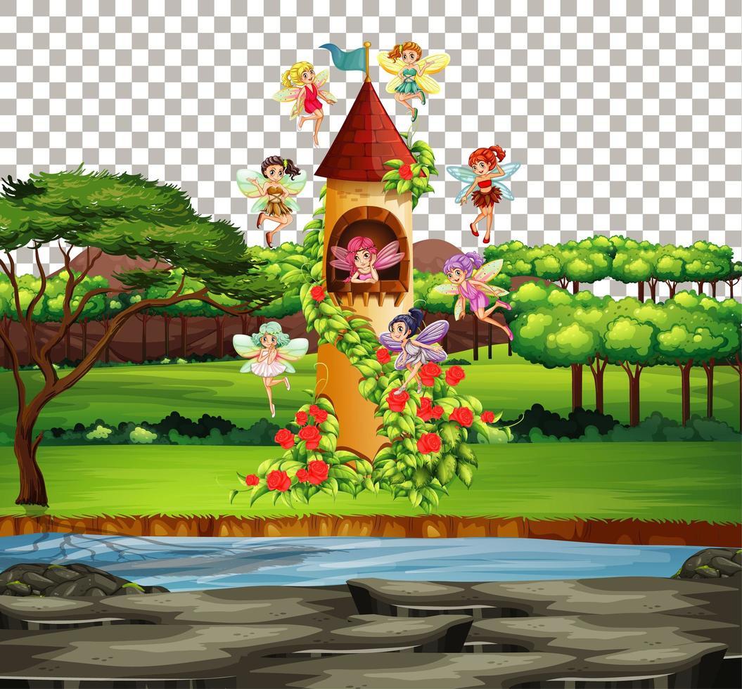 château dans le thème des contes de fées vecteur