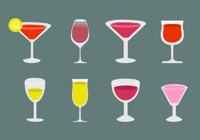 L'alcool et les icônes de cocktail vecteur libre