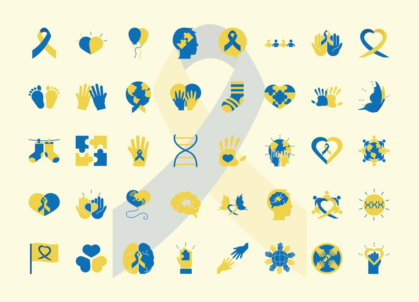 jeu d'icônes de pictogramme journée mondiale de la trisomie 21 vecteur