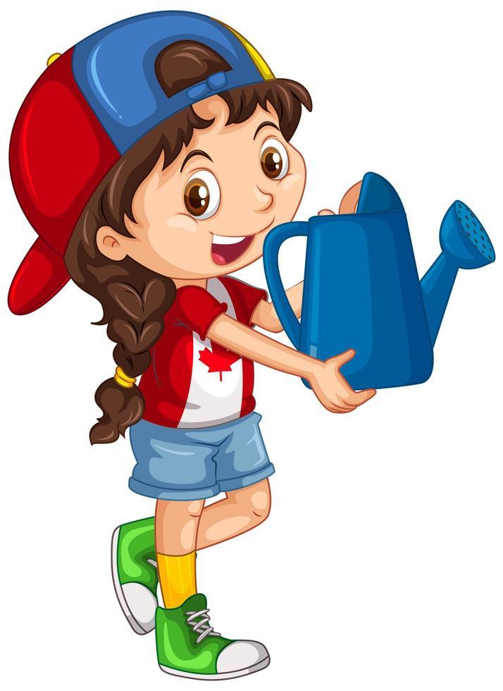 fille canadienne tenant un arrosoir bleu vecteur
