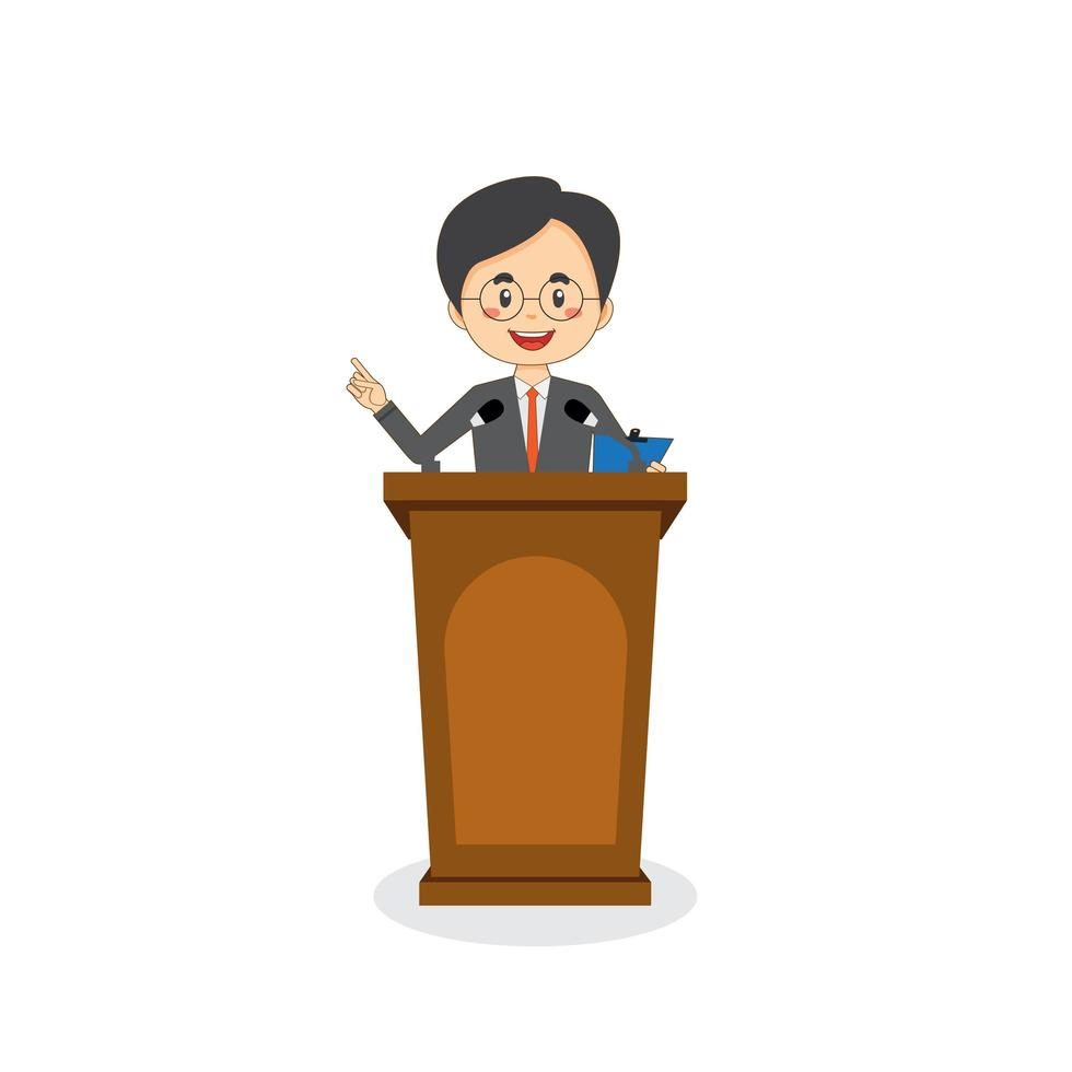 le personnage d & # 39; affaires parle sur le podium vecteur