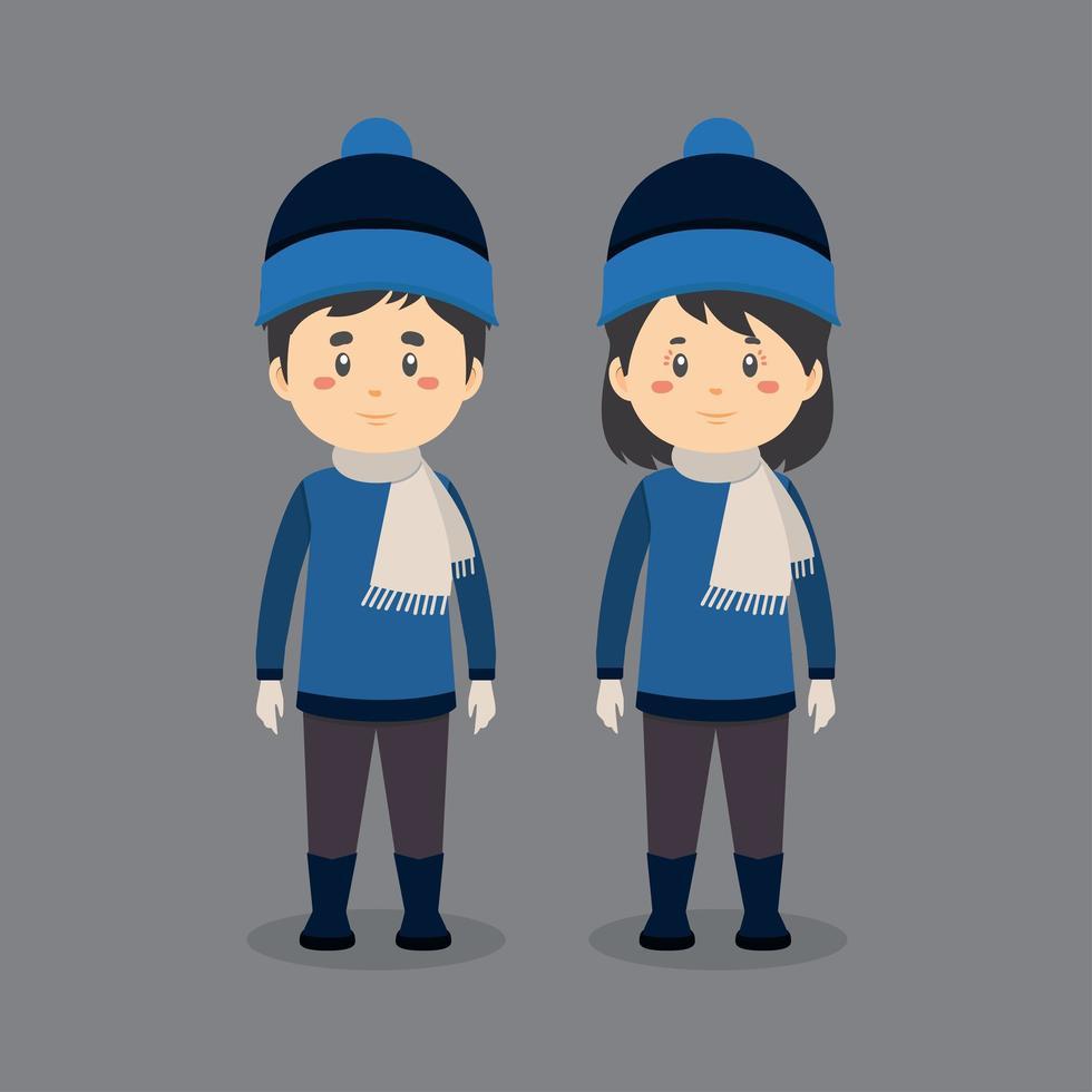 couple de personnages portant des vêtements d'hiver vecteur