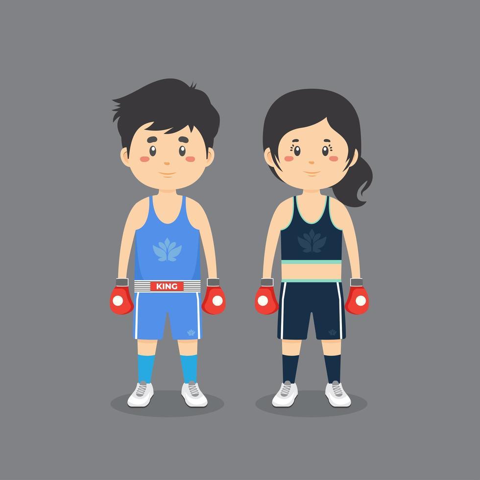 couple de personnages portant une tenue de boxe vecteur