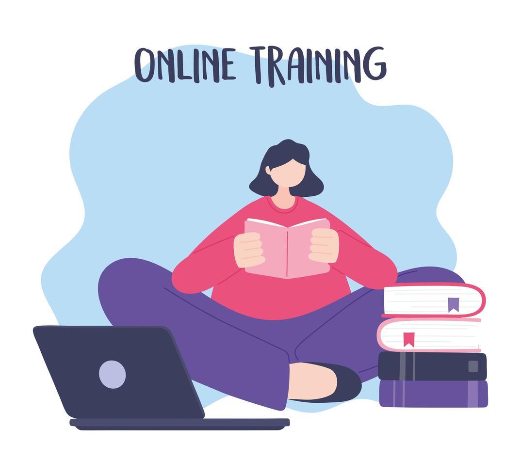 formation en ligne, livre de lecture de femme avec ordinateur portable vecteur