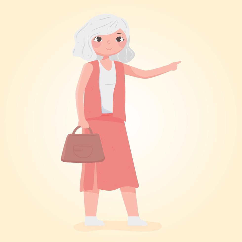 personnes voyageant, vieille femme touriste avec sac à main vecteur