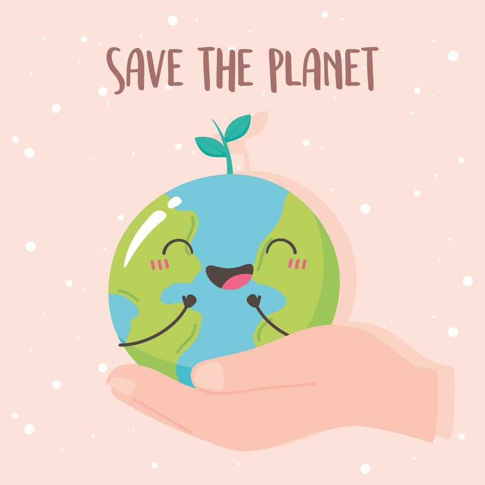 sauver la planète, main avec dessin animé mignon de la terre vecteur