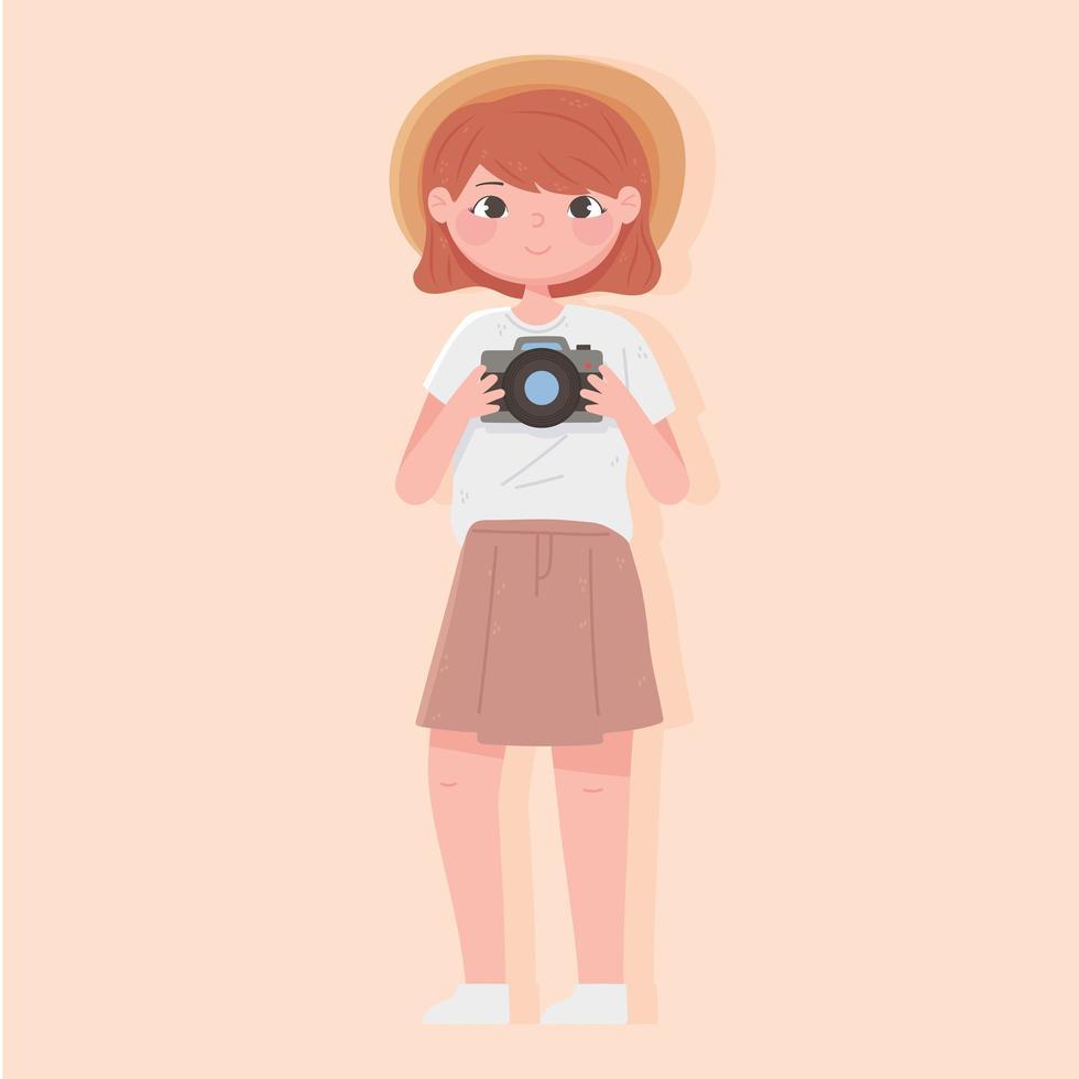 touriste femme avec chapeau et appareil photo vecteur