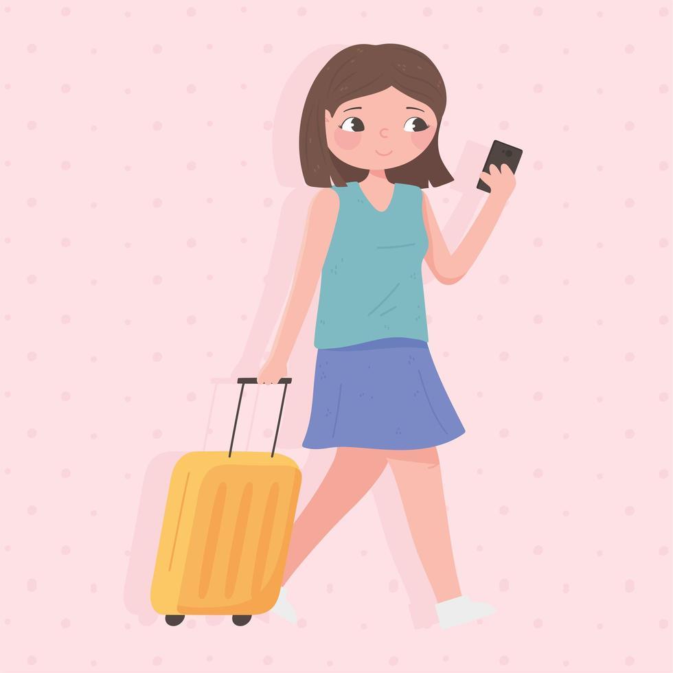 touriste femme avec valise à l'aide de smartphone vecteur