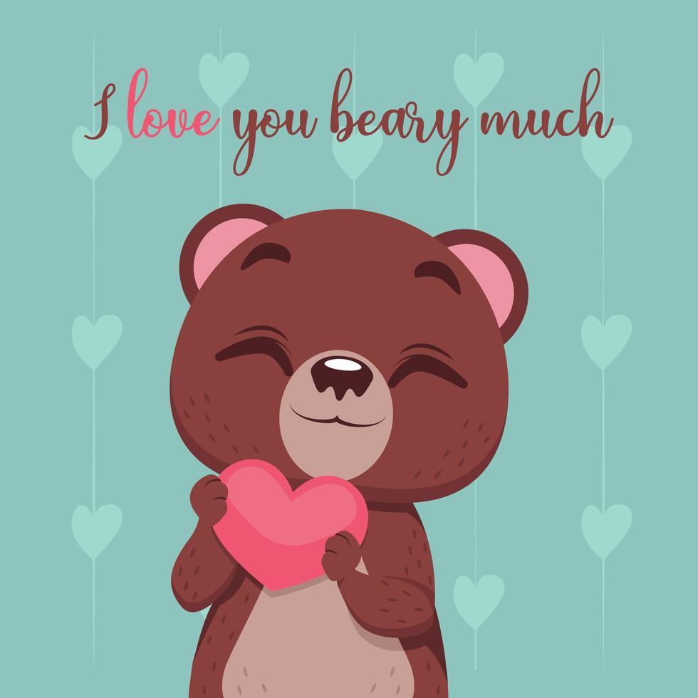 ours mignon avec coeur et phrase d'amour vecteur