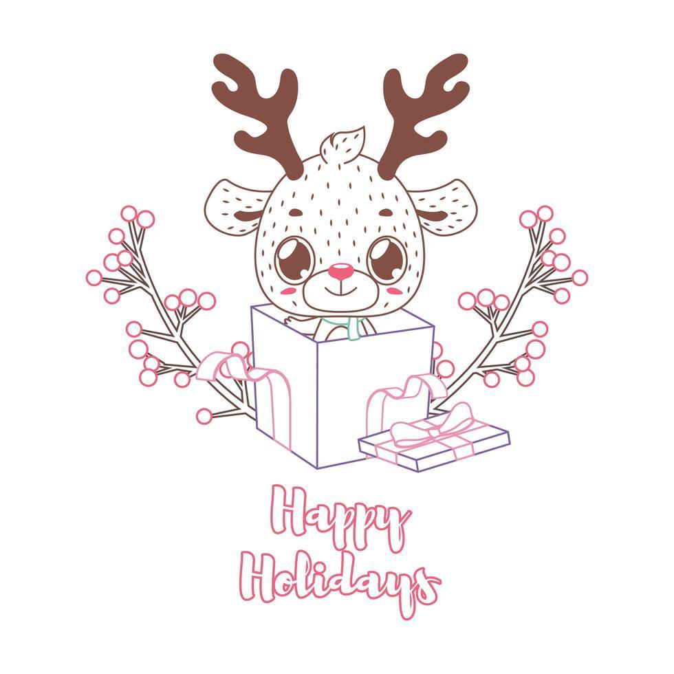 joyeuses fêtes de voeux dans un style lineart avec un renne mignon vecteur