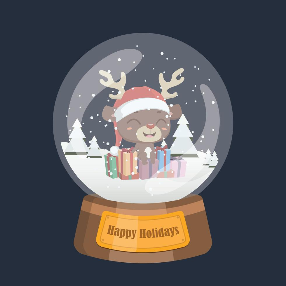 boule de neige de noël avec mignon renne et cadeaux vecteur
