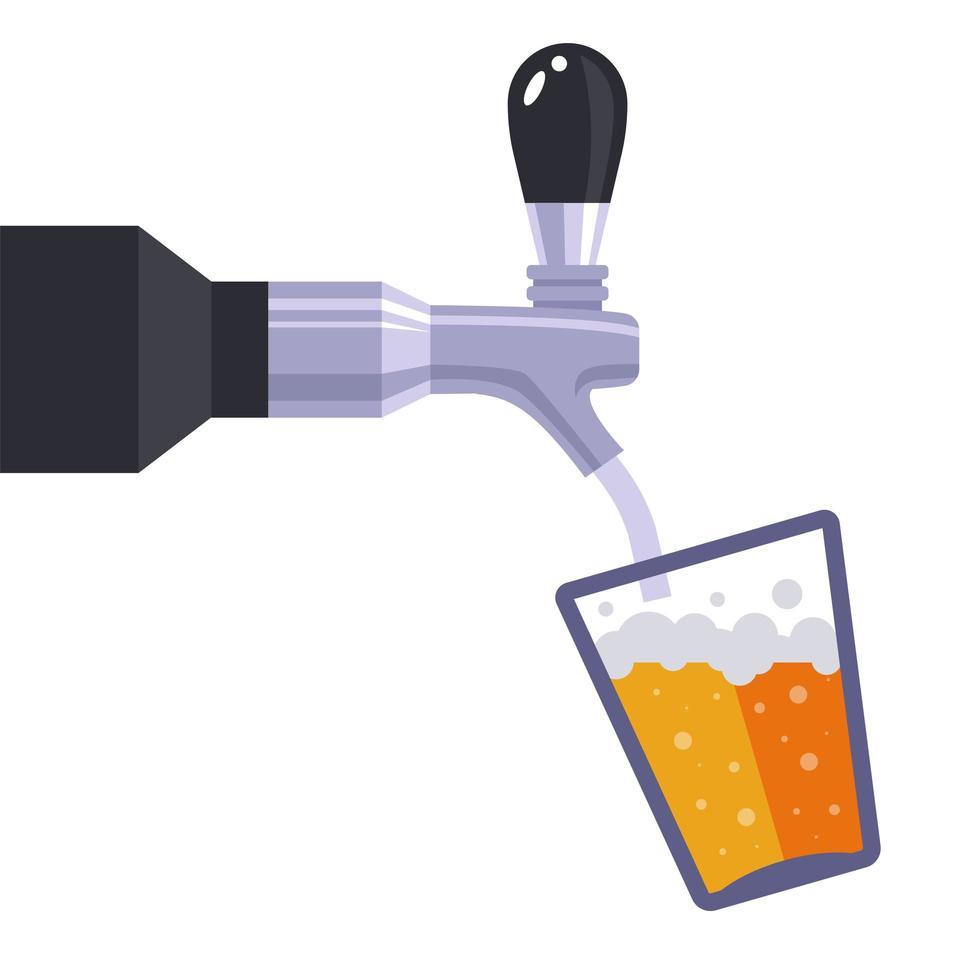 Le robinet en fer verse la bière dans le verre vecteur