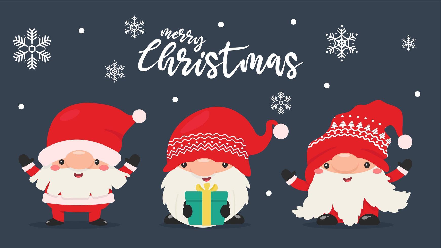 Gnomes nains en tenues de père Noël avec des flocons de neige vecteur