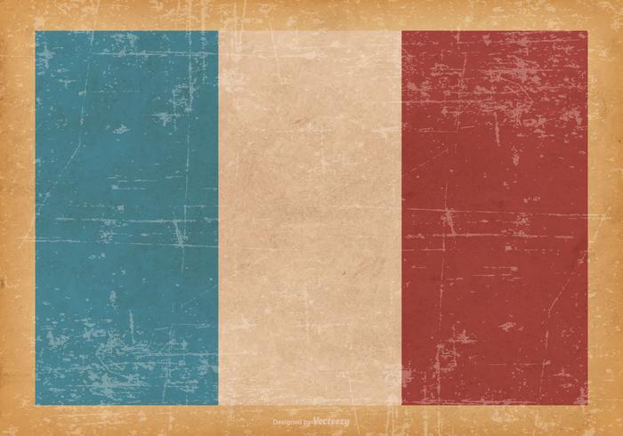 Drapeau de la France sur Old Grunge Background vecteur