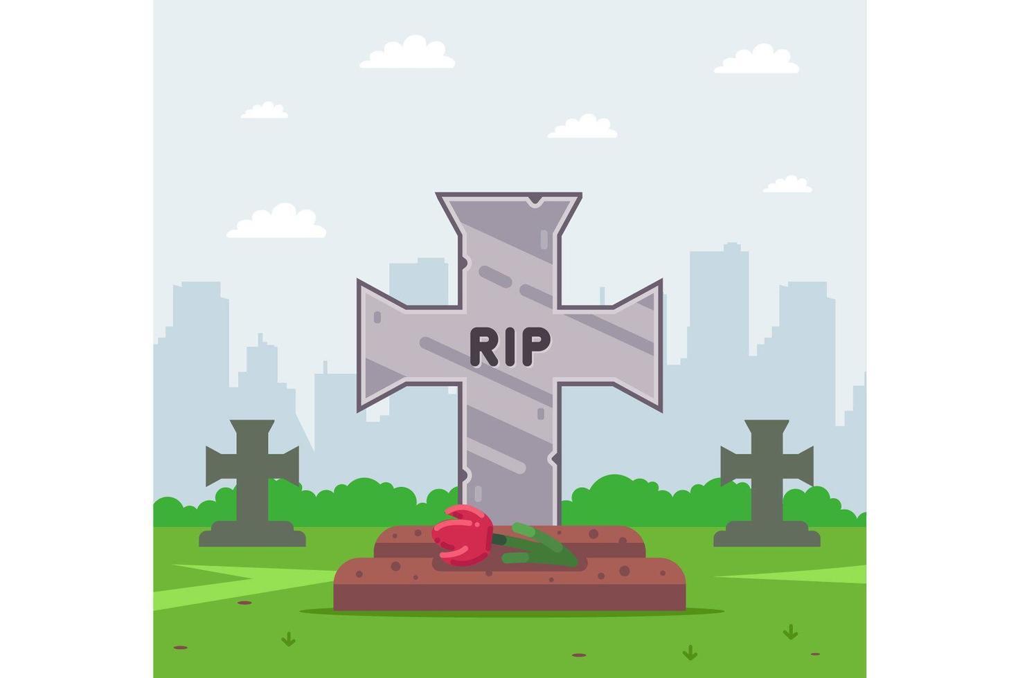croix tombale cimetière vecteur