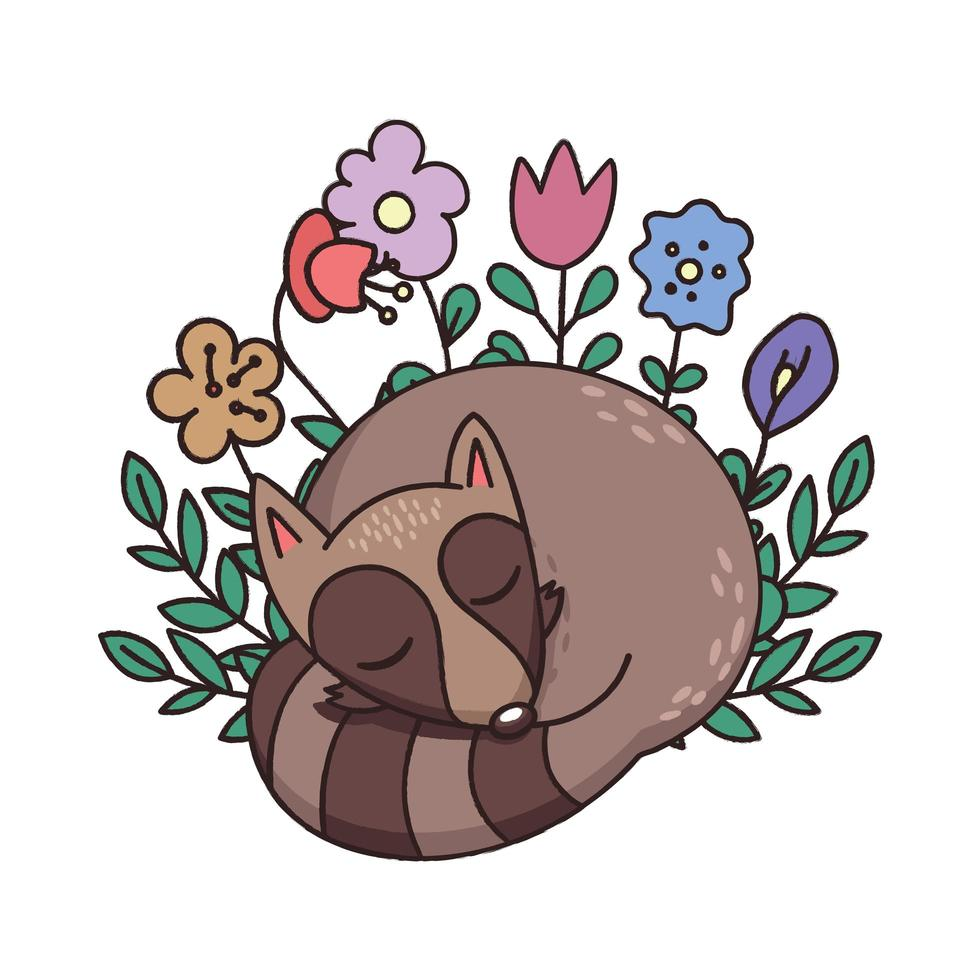 dessin de style crayon raton laveur endormi vecteur