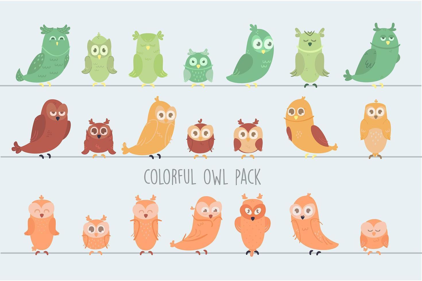 pack de hiboux colorés vecteur